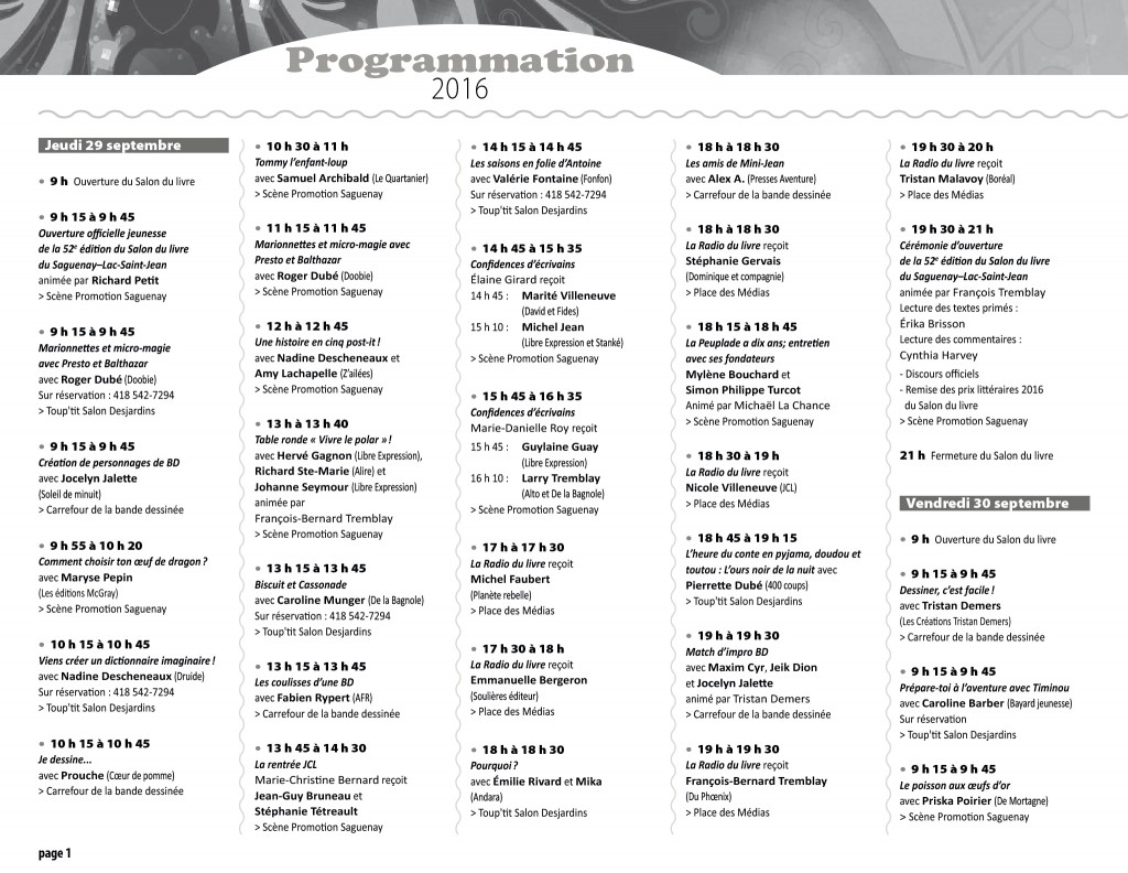 Programmation 2016 - page 1